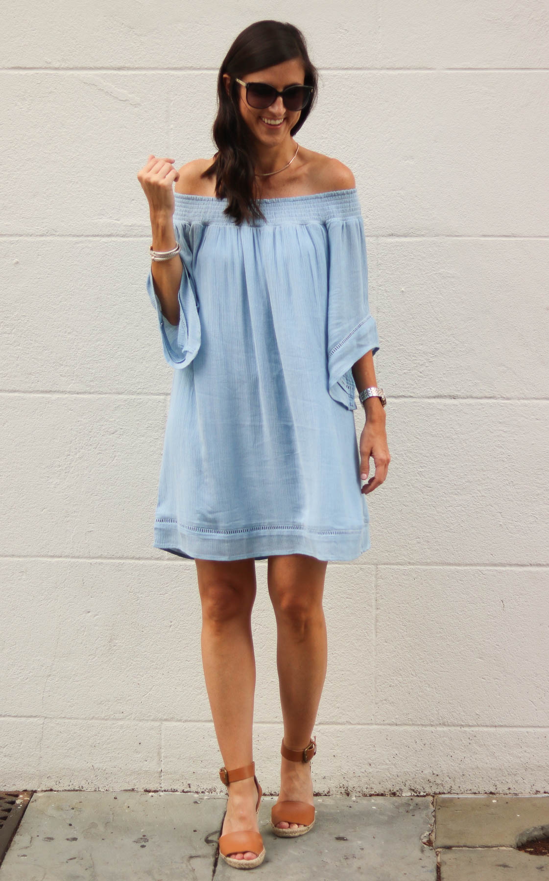 Chambray Off The Shoulder Dress