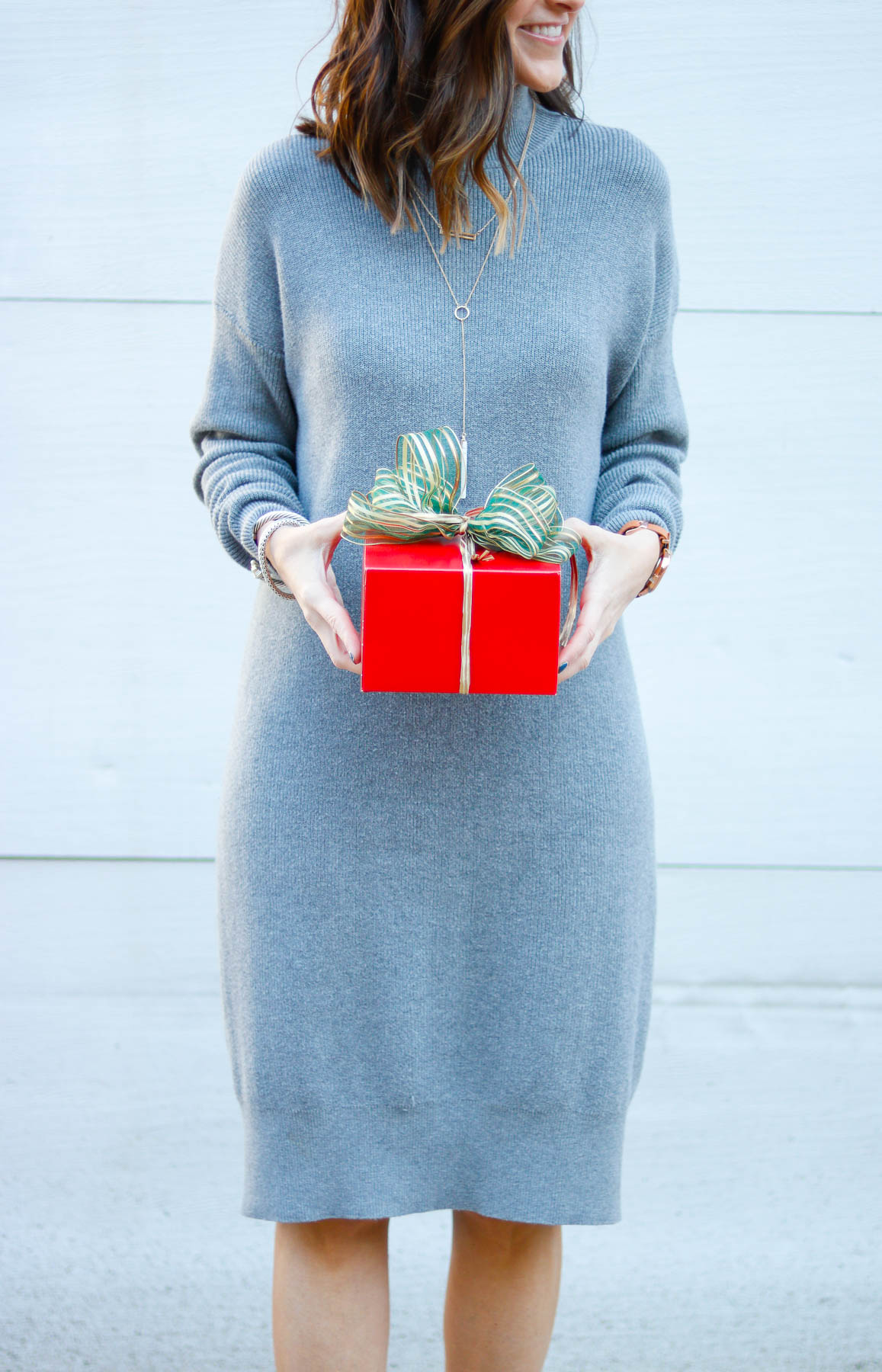 Holiday Outfit Inspiration - Grey Sweater Dress for the Holidays by Washington DC style blogger Cobalt Chronicles