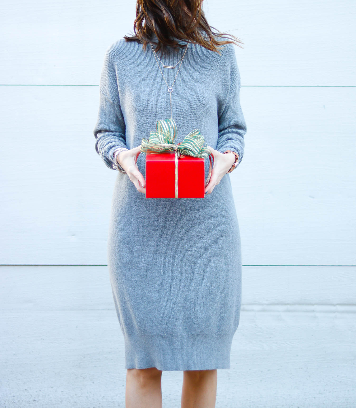 Sweater Dress - Grey Sweater Dress for the Holidays by Washington DC style blogger Cobalt Chronicles