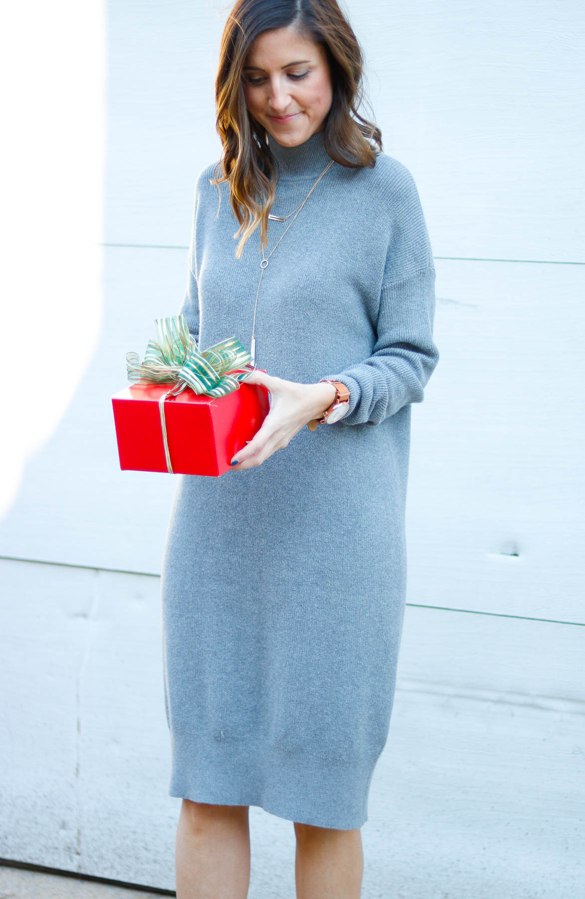 Nordstrom Sweater - Grey Sweater Dress for the Holidays by Washington DC style blogger Cobalt Chronicles