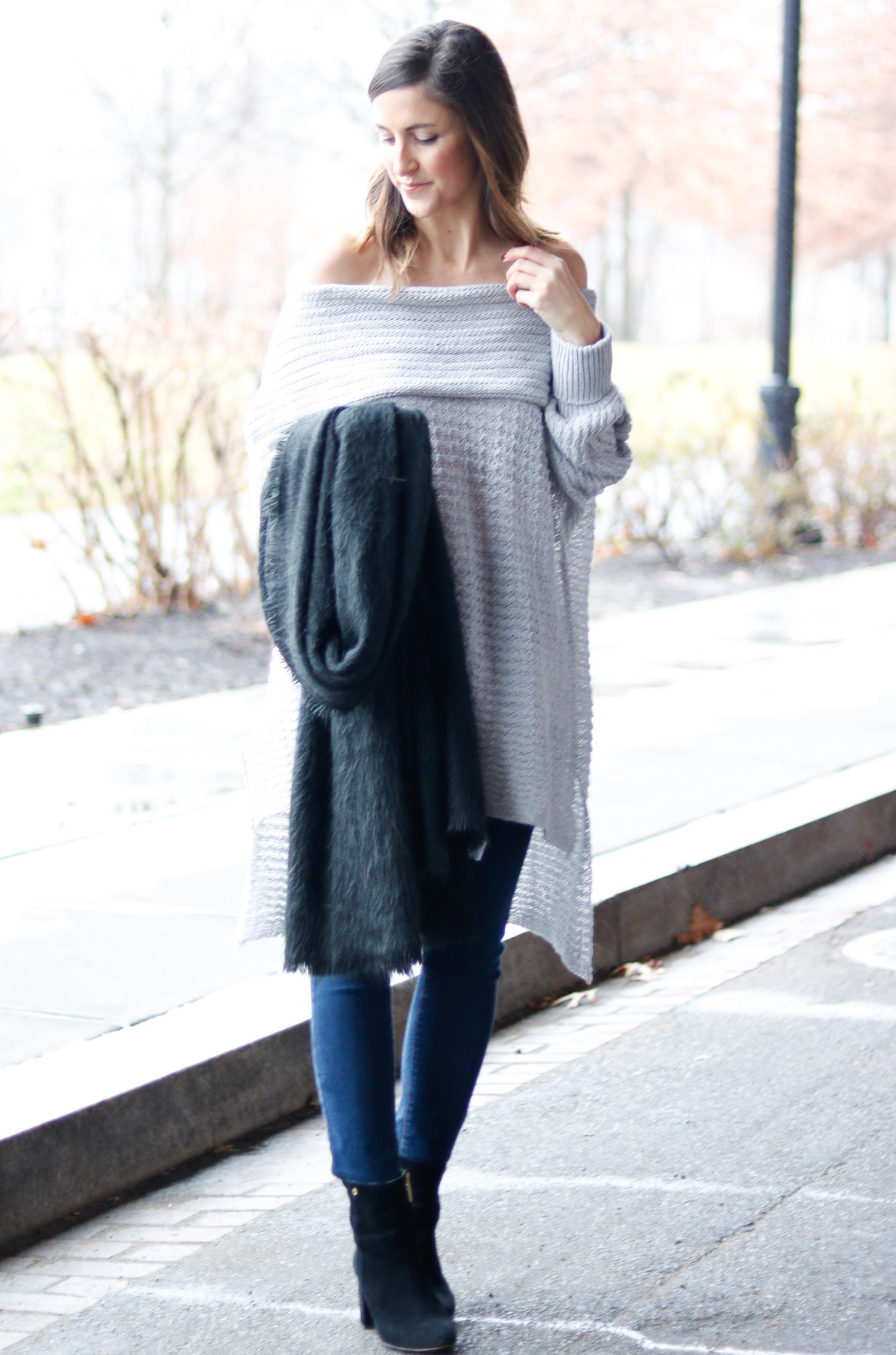 Grey Off the Shoulder Sweater | Cobalt Chronicles