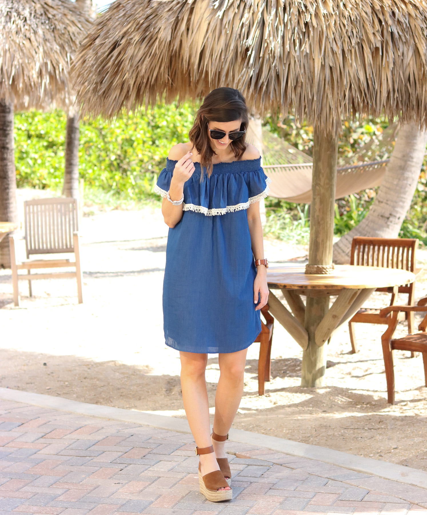 Chambray Off the Shoulder Dress @cobaltchronicle