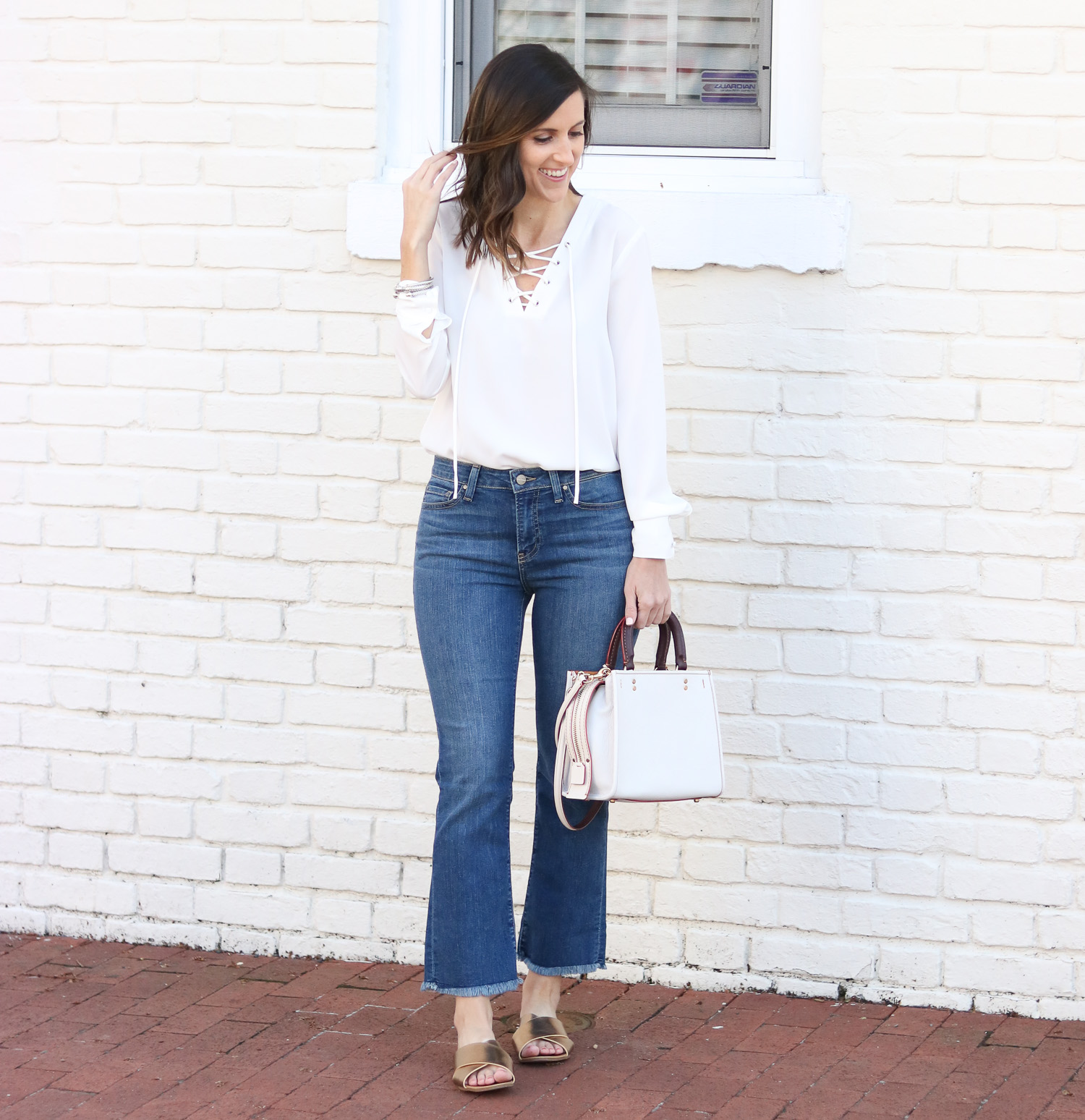 Cropped Flare Denim - Lace Up Top - Gold Slide Sandals @cobaltchronicle