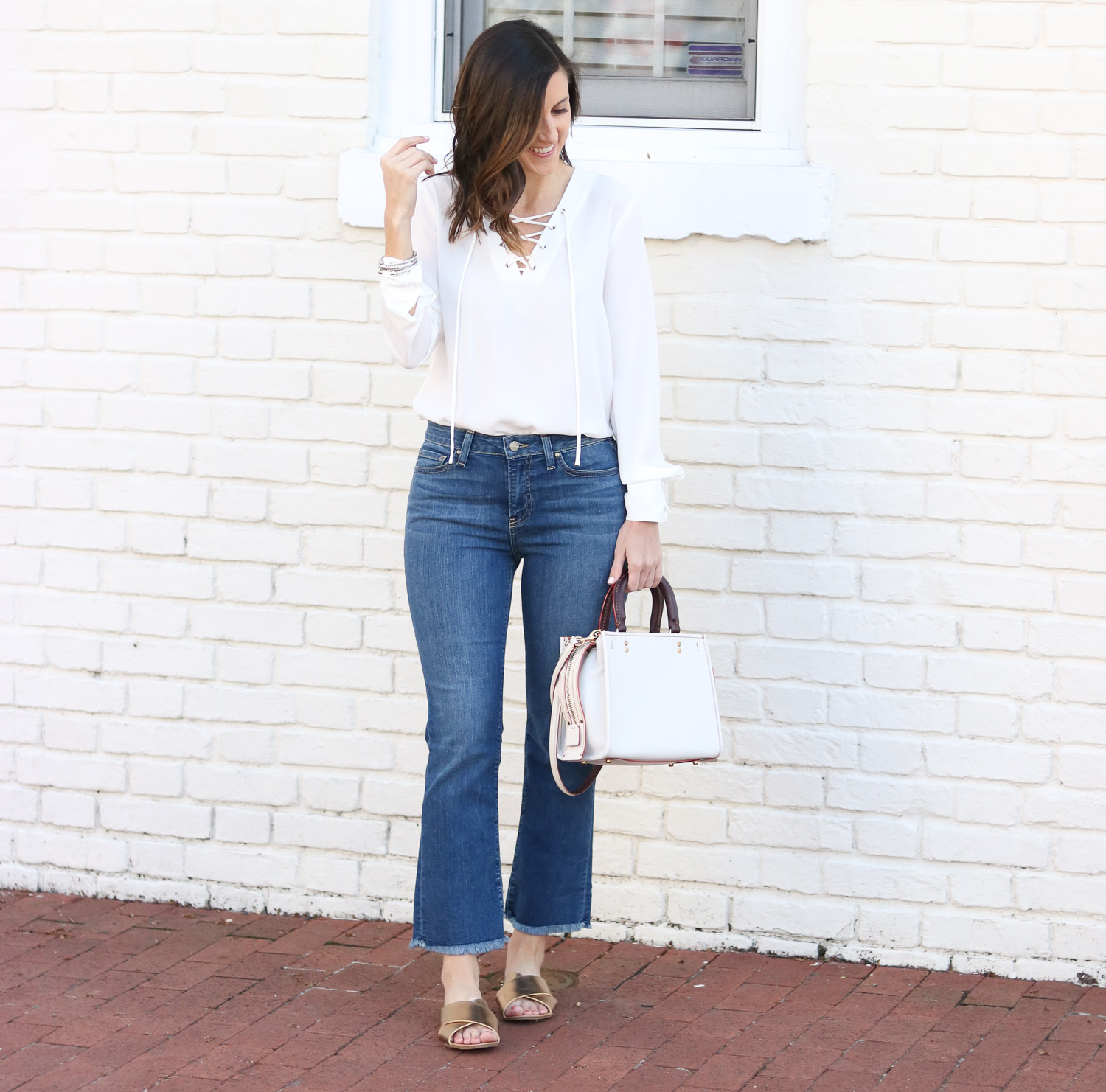 Cropped Flare Denim - Lace Up Top - Gold Slides @cobaltchronicle