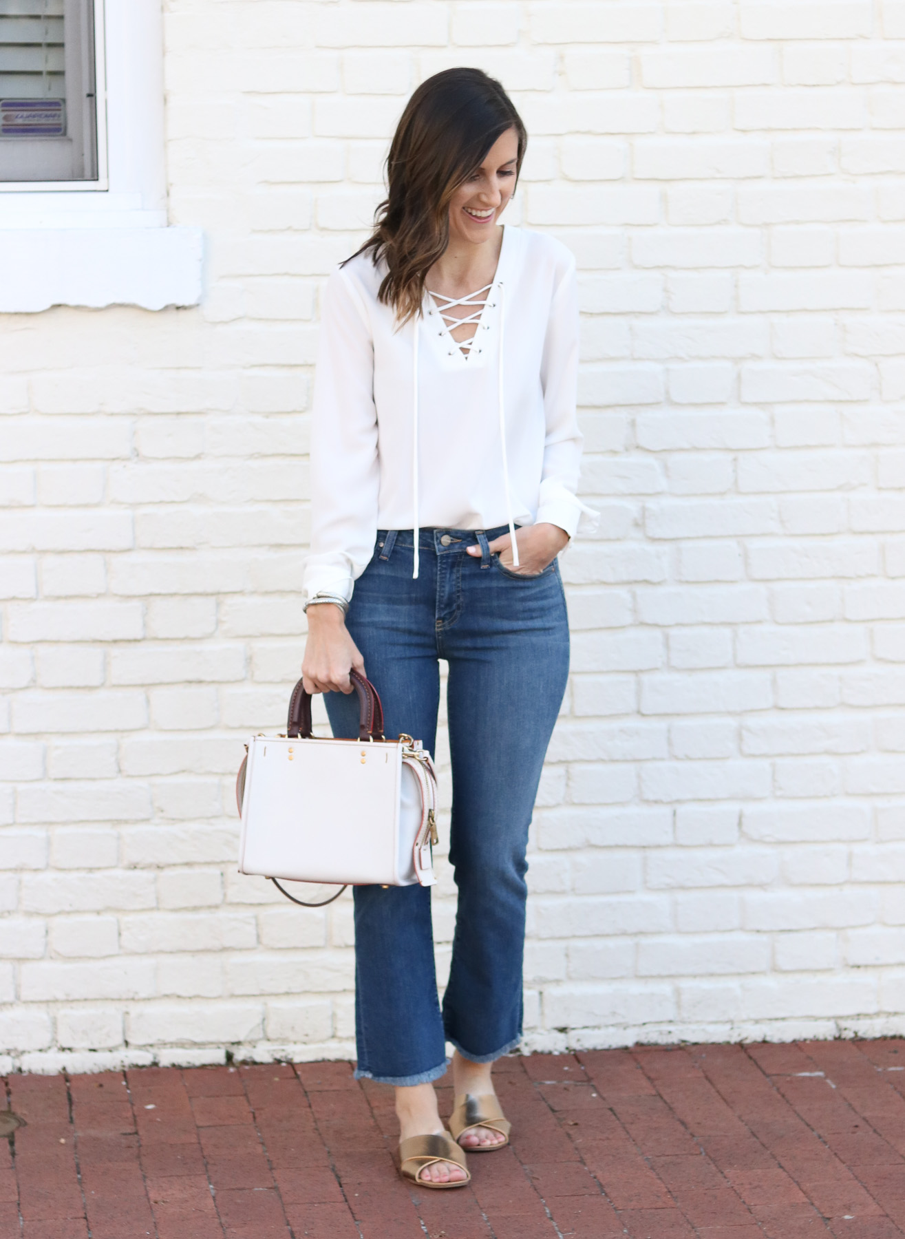 Lace Up Top - Cropped Flare Denim @cobaltchronicle