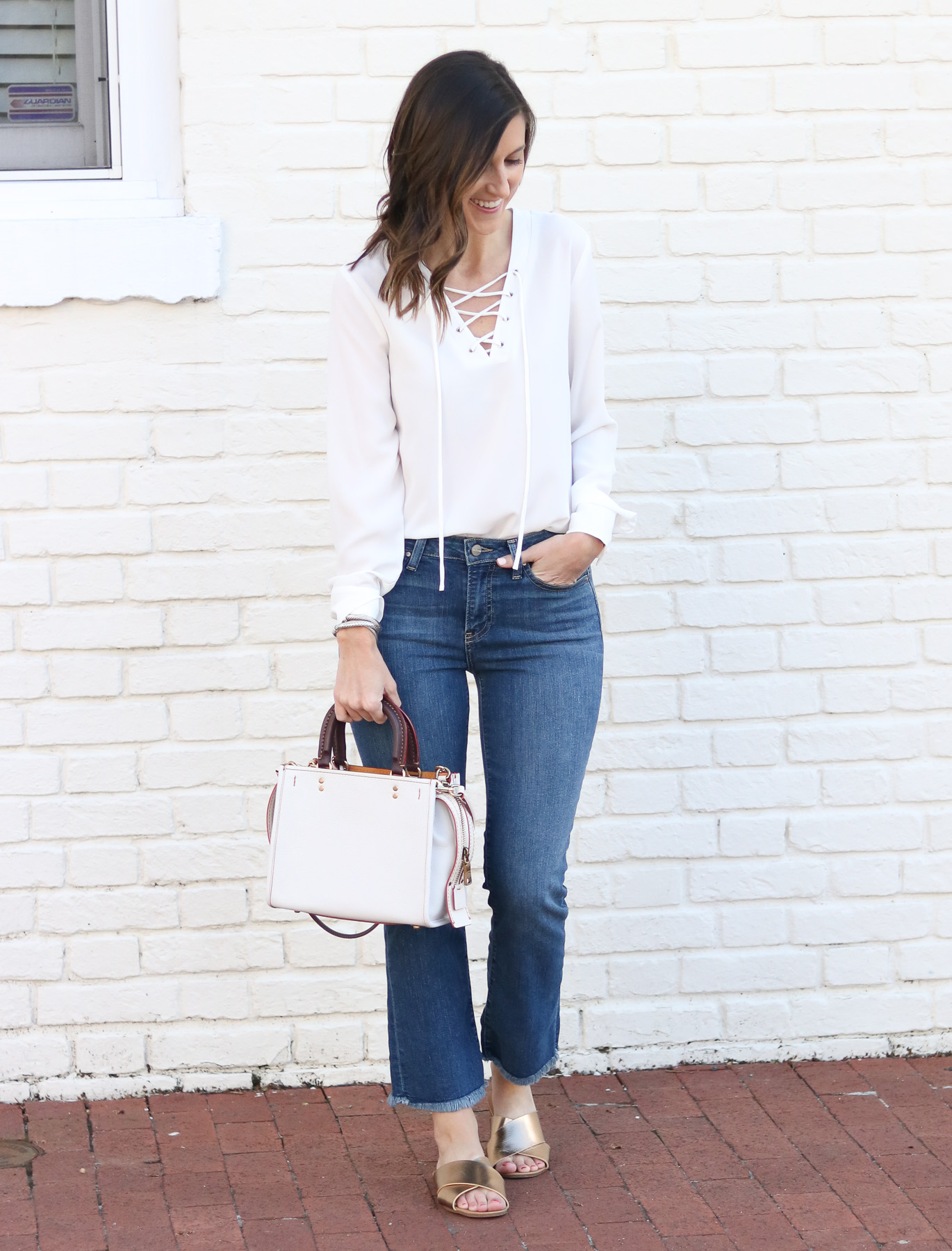 Cropped Flare Denim - Lace Up Top @cobaltchronicle