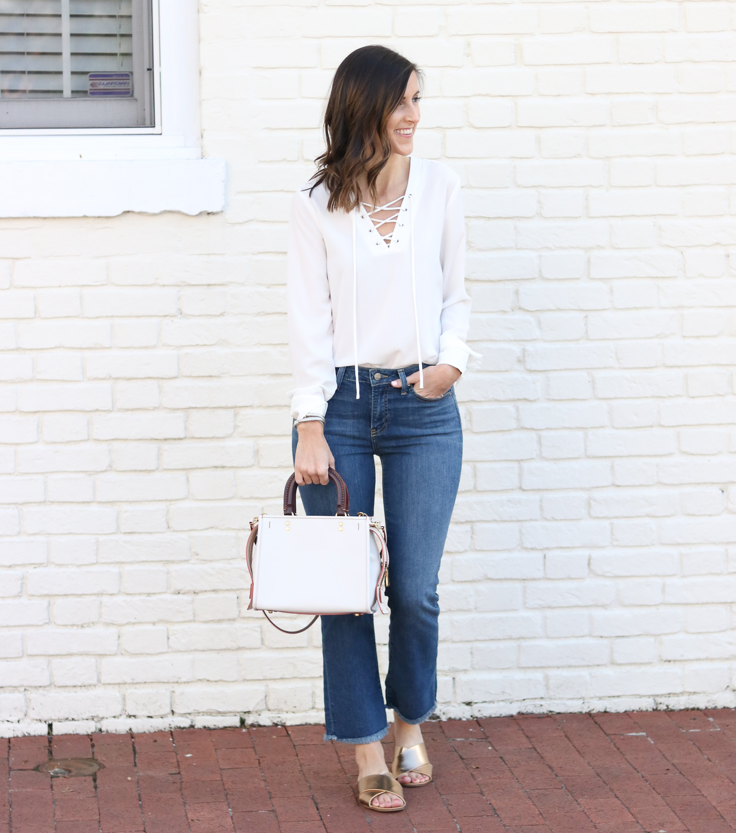 Cropped Flare Denim - Lace Up Top - 70s Inspired Style @cobaltchronicle