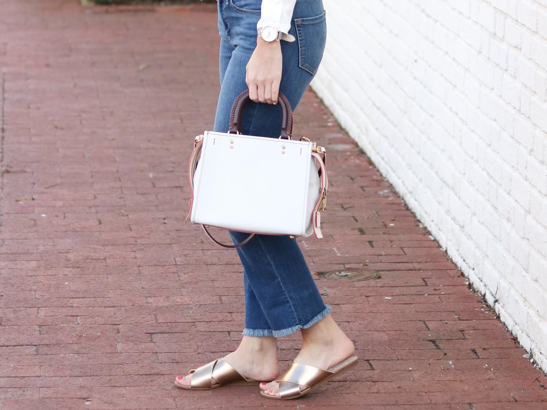 Cropped Flare Denim - Gold Slide Sandals - White Bag @cobaltchronicle
