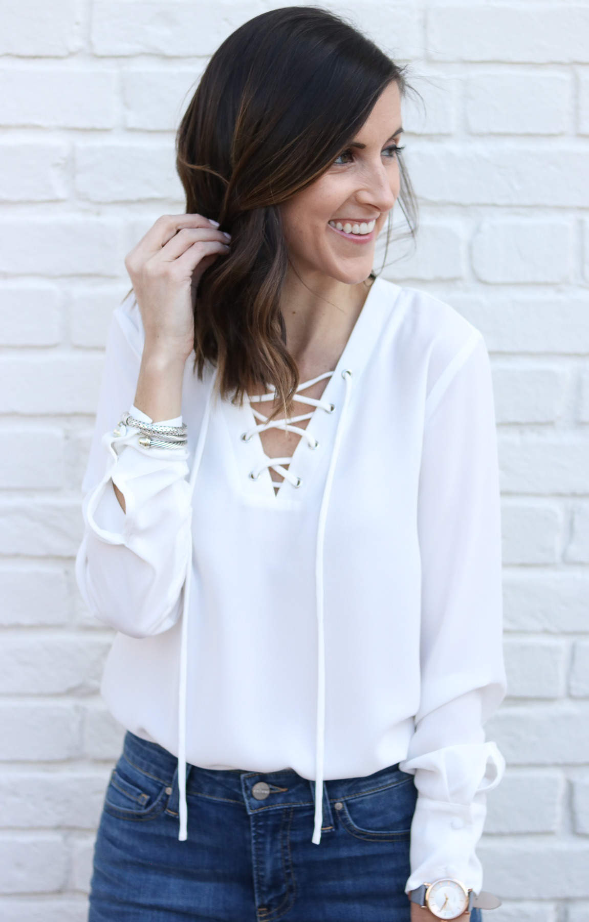 Lace Up Top - Cropped Flare Denim - 70s Style Inspiration @cobaltchronicle