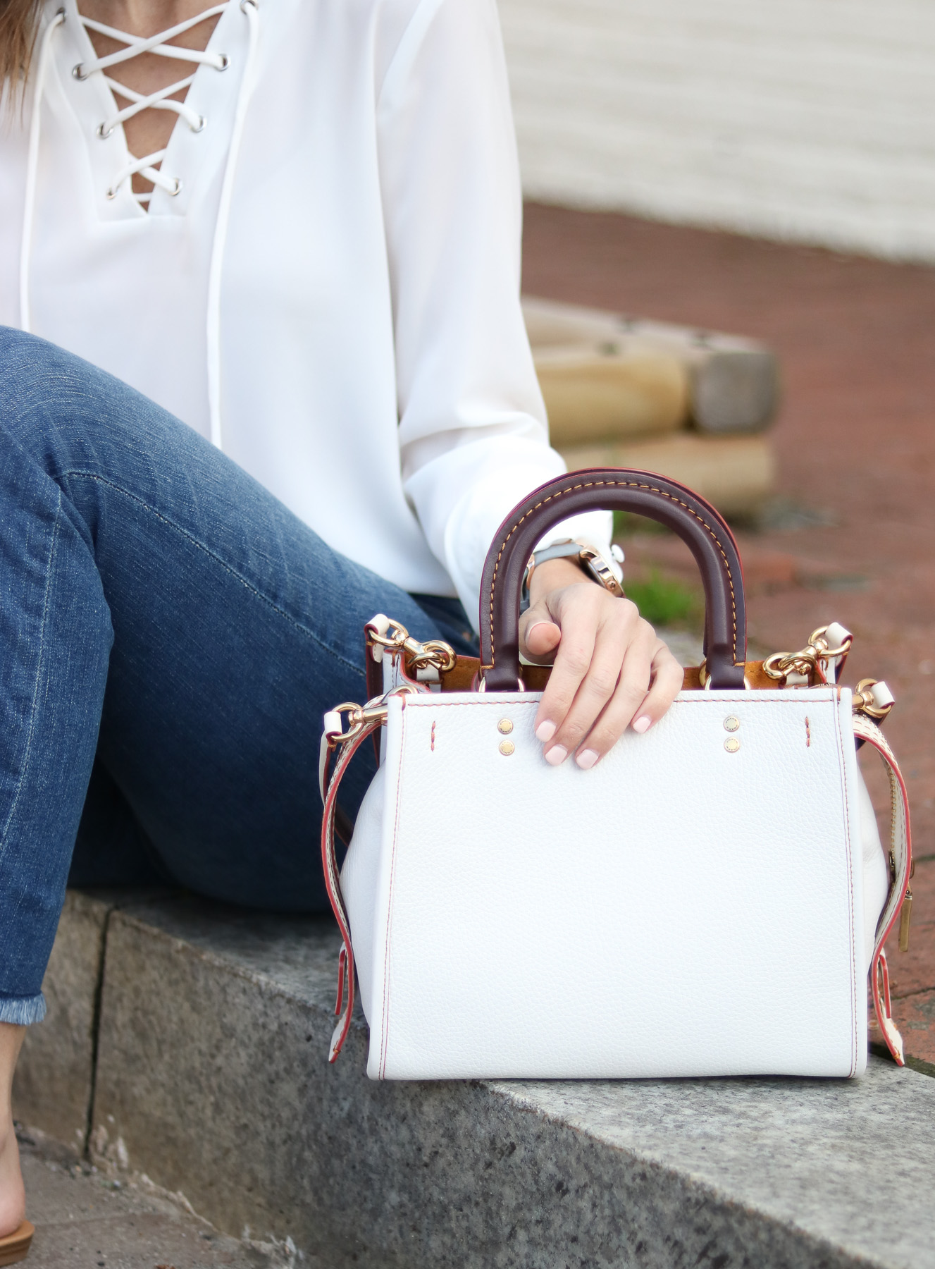 White Bag - Cropped Flare Denim - Lace Up Top @cobaltchronicle