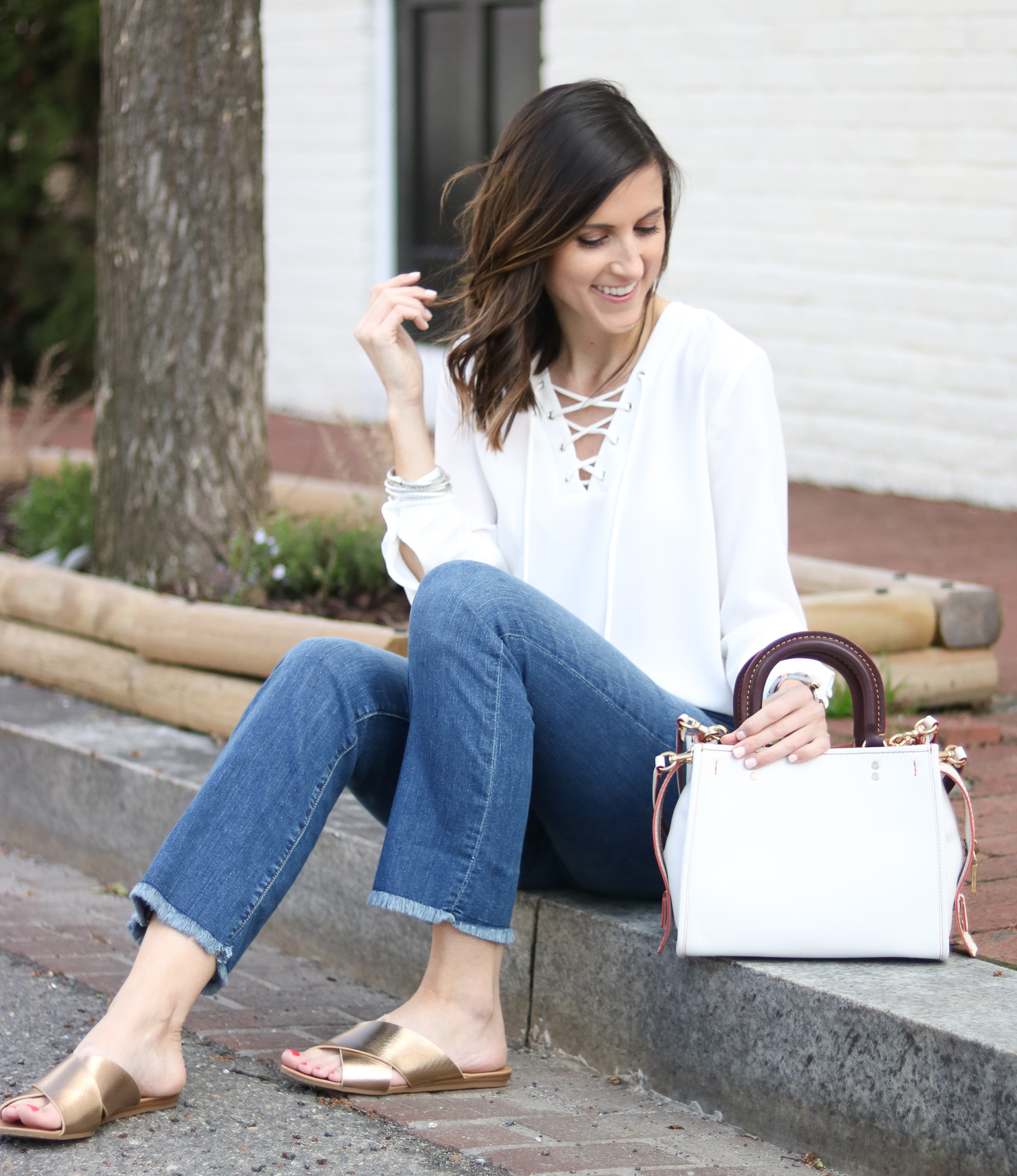 Cropped Flare Denim - Lace Up Top - Gold Slide Sandals - White Bag @cobatlchronicle
