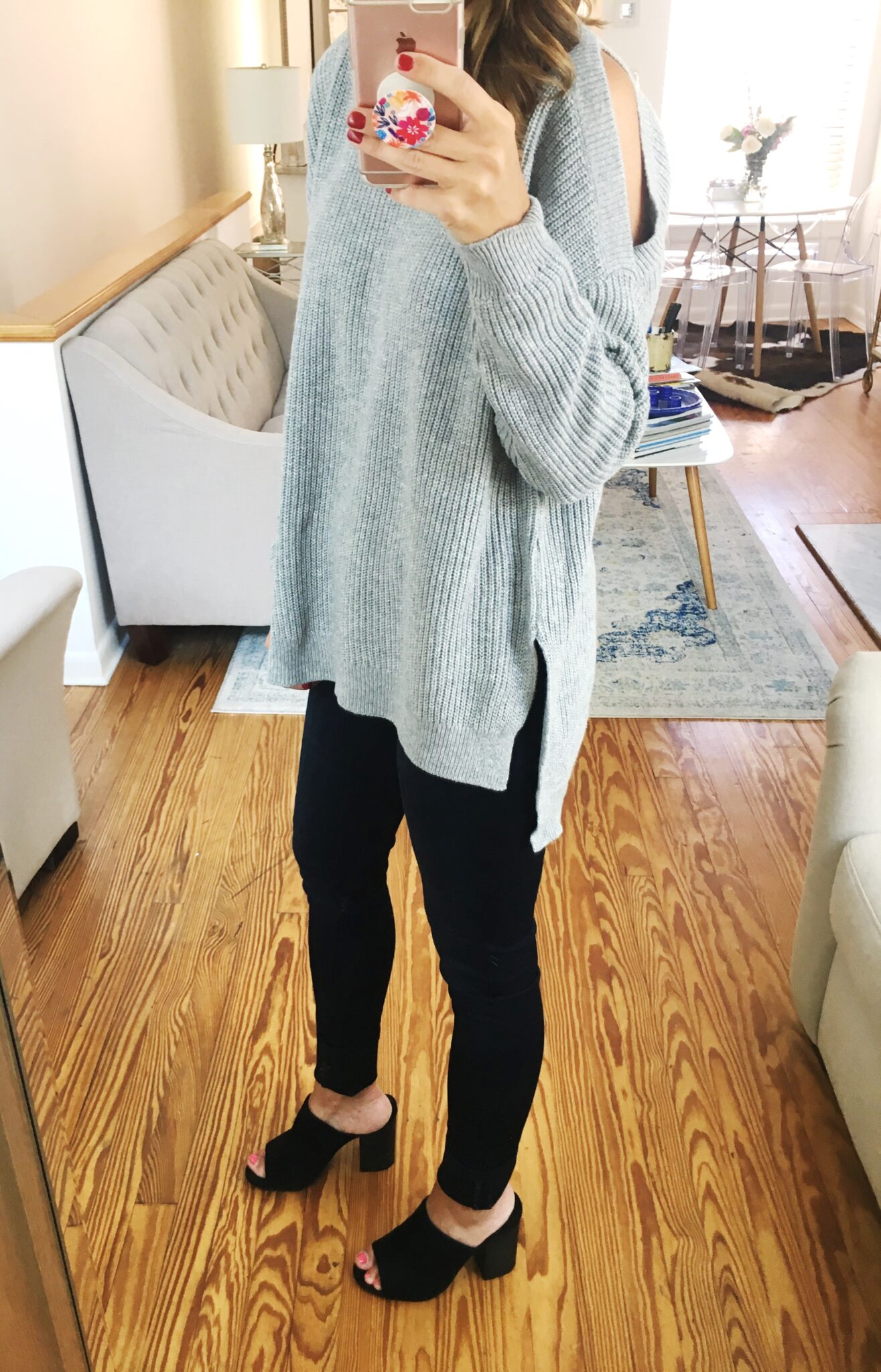 Grey Cold Shoulder Sweater - Nordstrom Anniversary Sale Try On Session by popular Washington DC style blogger Cobalt Chronicles