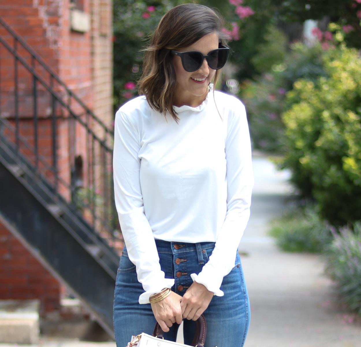 SoSis Boutique White Ruffle Top by popular Washington DC fashion blogger Cobalt Chronicles