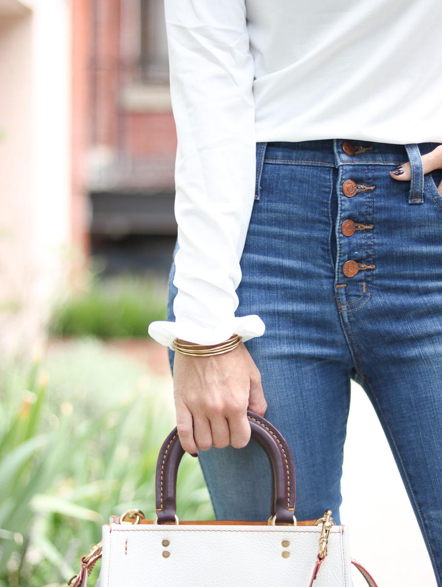 Shop SoSis Boutique White Ruffle Top by popular Washington DC fashion blogger Cobalt Chronicles