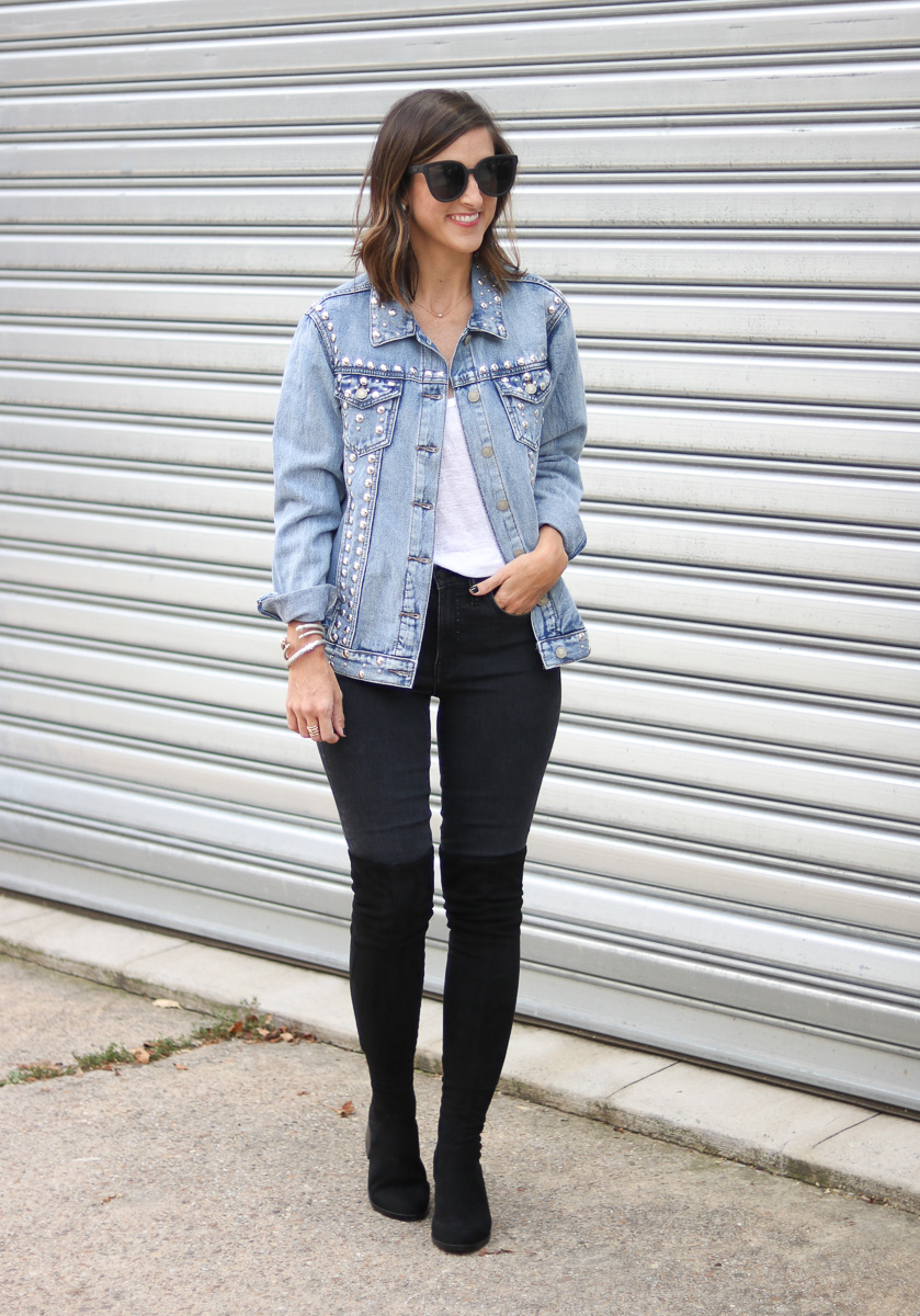 SoSis Boutique Stud Jean Jacket by popular Washington DC fashion blogger Cobalt Chronicles