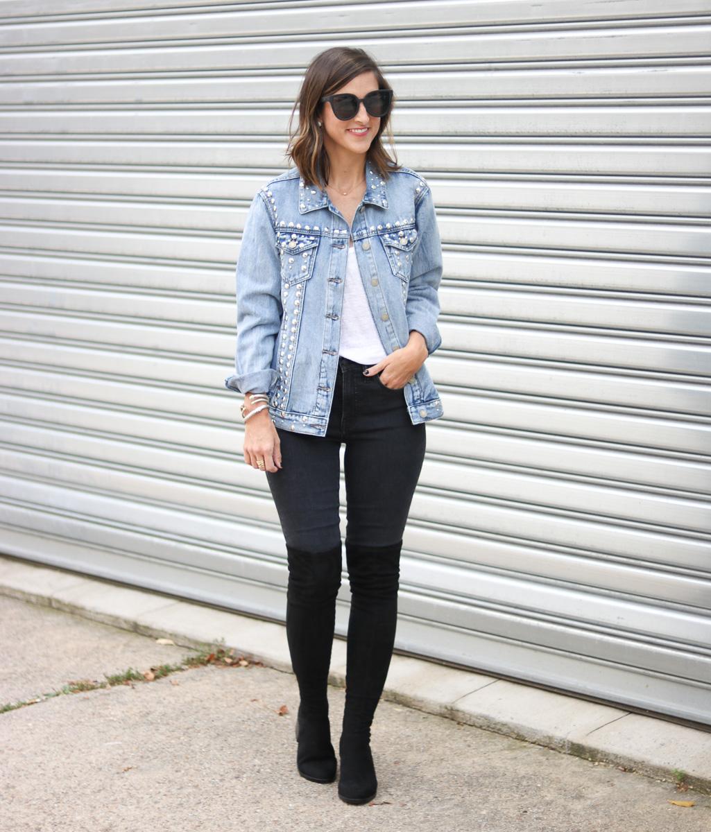 Shop SoSis Boutique Stud Denim Jacket by popular Washington DC fashion blogger Cobalt Chronicles