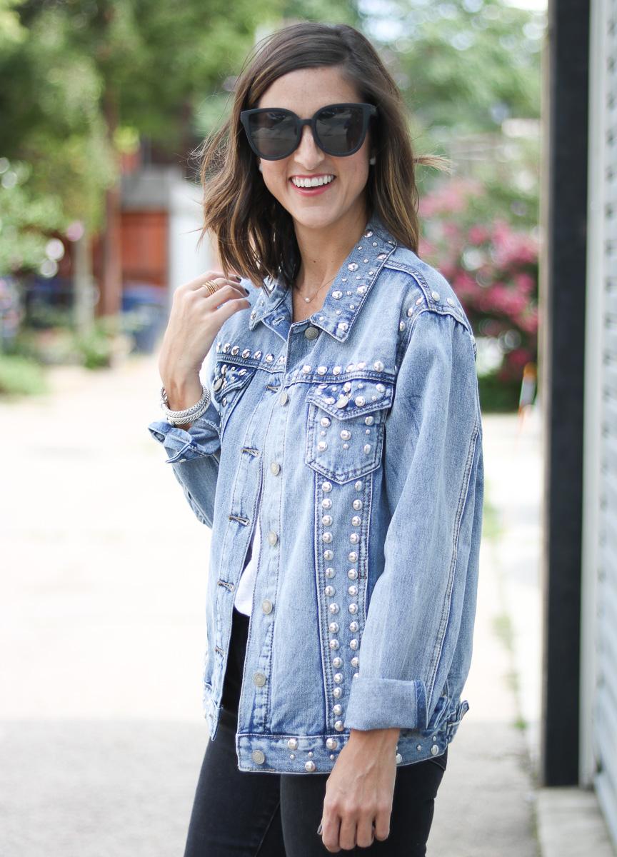 SoSis Boutique Stud Denim Jacket by popular Washington DC fashion blogger Cobalt Chronicles