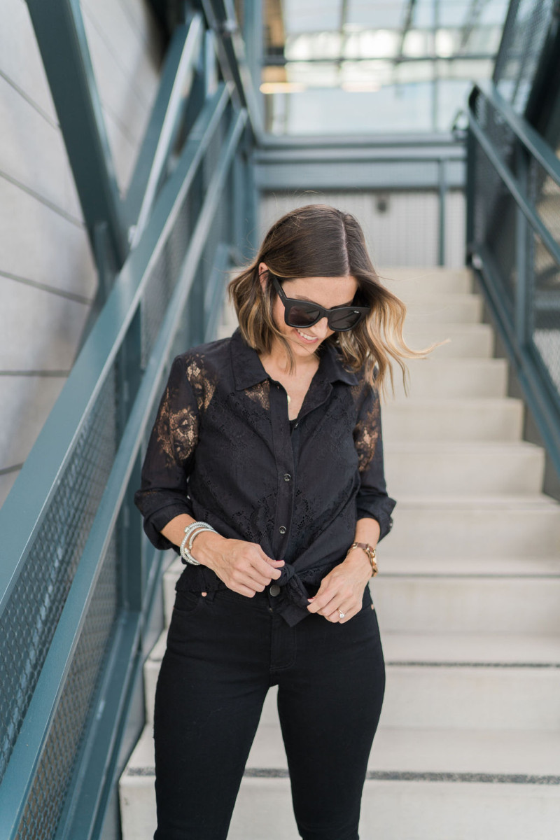cabi Fall Collection | Black Lace Button Up | Cobalt Chronicles | Houston Style Blogger